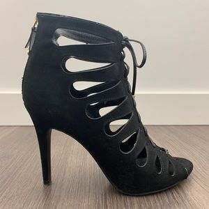 Sam & Libby Norah Black Lace Up Caged Heels